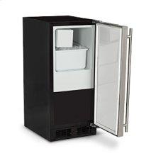"""Marvel 15"""" Crescent Ice Machine - Solid Black Door, Stainless Steel Handle - Left Hinge"""