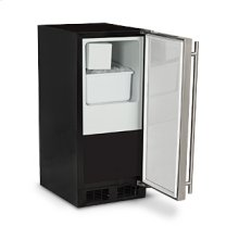 "Marvel 15"" Crescent Ice Machine - Solid Stainless Steel Door, Stainless Steel Handle - Right Hinge"