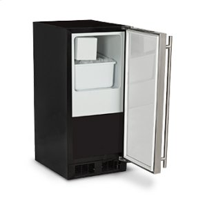 "MarvelMarvel 15"" Crescent Ice Machine - Solid Black Door, Stainless Steel Handle - Left Hinge"