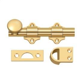 """4"""" Dutch Door Bolt, HD - PVD Polished Brass"""