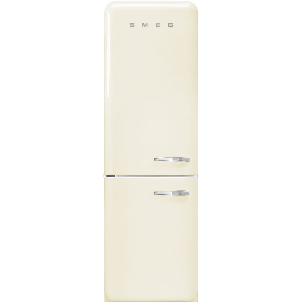 "Smeg'50s Style No Frost' Fridge-Freezer, Cream, Left Hand Hinge, 60 Cm (Approx 24"")"