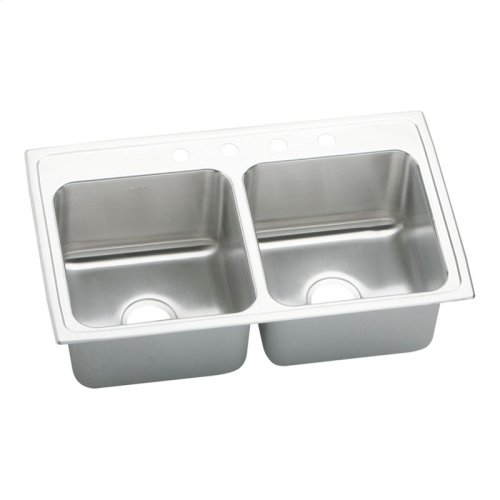 """Elkay Lustertone Classic Stainless Steel 33"""" x 22"""" x 10-1/8"""", Equal Double Bowl Drop-in Sink"""