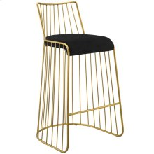 Rivulet Gold Stainless Steel Upholstered Velvet Bar Stool in Gold Black