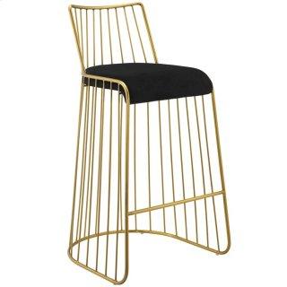 Rivulet Gold Stainless Steel Upholstered Velvet Bar Stool in Gold Black