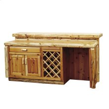 7-foot Bar with Sink Cabinet Refrigerator left, Liquid Glass top