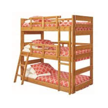 Heartland Twin Triple Bunk Bed with options: Honey Pine, Twin over Twin over Twin