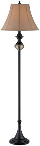 Floor Lamp - Rusted Bronze/ab/tan Fabric Shade, E27 A 100w Product Image