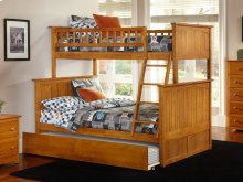 Nantucket Bunk Bed Twin over Full with Urban Trundle Bed in Caramel Latte