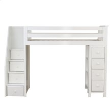 All in One Staircase Loft Bed Storage White