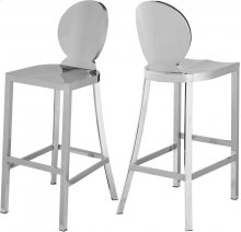 "Maddox Chrome Stainless Steel Bar Stool - 15""W x 21""D x 42""H"