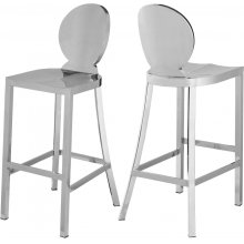 "Maddox Chrome Stainless Steel Bar Stool - 15"" W x 21"" D x 42"" H"