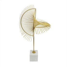 """Metal 27.5"""" Sculpture W/ Marble Stand, Gold"""