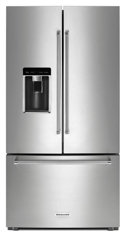 "23.8 cu. ft. 36"" Counter-Depth French Door Platinum Interior Refrigerator with PrintShield Finish - Black Stainless"