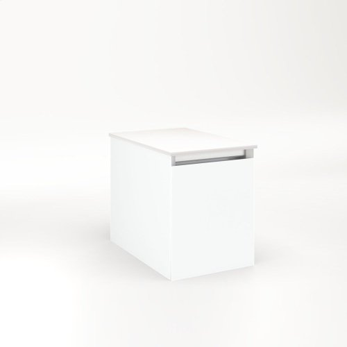 """Cartesian 12-1/8"""" X 15"""" X 18-3/4"""" Single Drawer Vanity In Matte White With Slow-close Full Drawer and Night Light In 5000k Temperature (cool Light)"""