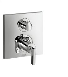 Chrome Thermostat for concealed installation with shut-off valve and lever handle