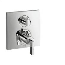 Chrome Thermostat for concealed installation with shut-off/ diverter valve and lever handle