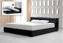 Modrest Logan Black Leatherette Bed with Storage