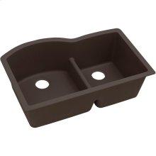 "Elkay Quartz Luxe 33"" x 22"" x 10"", Offset 60/40 Double Bowl Undermount Sink with Aqua Divide, Chestnut"