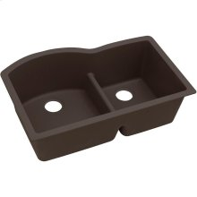 "Elkay Quartz Luxe 33"" x 22"" x 10"", Offset 60/40 Double Bowl Undermount Sink with Aqua Divide, Chestnut"