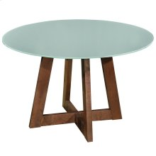 Sonos Round Glass-Top Dining Table in Walnut with Glass Top