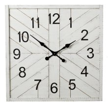 Square Whitewash Shiplap Inlay Wall Clock.