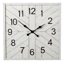 Square Whitewash Shiplap Inlay Wall Clock