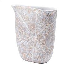 White Poly Jar Sm Antique Beige
