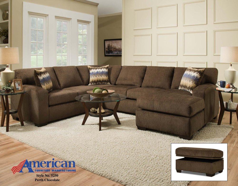 American Furniture Manufacturing 5250 Perth Chocolate Sectional