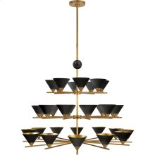 Visual Comfort KW5513AB/BM-BLK Kelly Wearstler Cleo 32 Light 49 inch Antique-Burnished Brass and Black Marble Chandelier Ceiling Light, Three-Tier