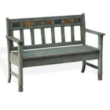Green Bench w/ Storage & Wood Seat