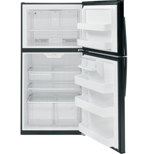 "GIVE-AWAY PRICE: BRAND NEW FLOOR MODEL WITH FULL WARRANTY - GE ""BLACK""  ENERGY STAR® 21.1 Cu. Ft. Top-Freezer Refrigerator"