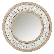 Whitewash Enamel Wreath Wall Mirror.