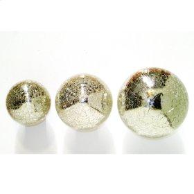 Crackle Glass silver balls( set of 3)