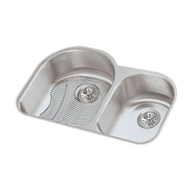 "Elkay Lustertone Classic Stainless Steel 31-1/4"" x 20"" x 7-1/2"", Offset 60/40 Double Bowl Undermount Sink Kit"