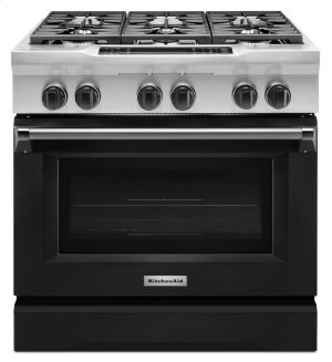 36'' 6-Burner Dual Fuel Freestanding Range, Commercial-Style - Imperial Black Product Image