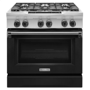 KitchenAid36'' 6-Burner Dual Fuel Freestanding Range, Commercial-Style - Imperial Black