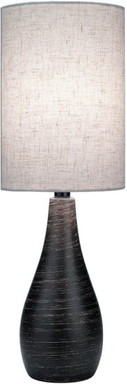 Table Lamp, Brushed Dark Bronze/linen Shade, E27 Cfl 13w Product Image