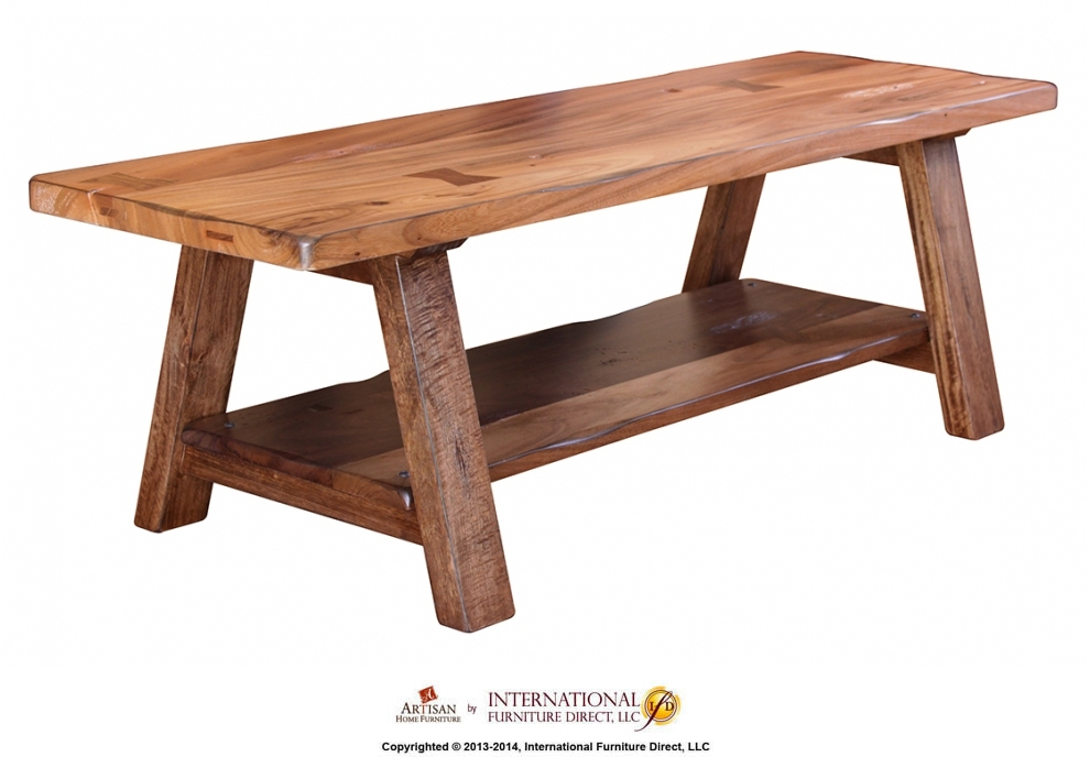 Solid Wood Bench W/shelf   KD System