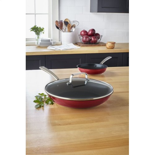 """Stainless Steel 12"""" Nonstick Skillet with lid - Candy Apple Red"""