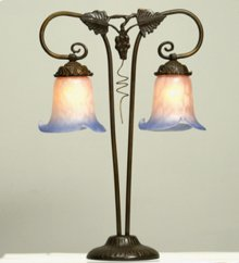 """20""""H Twin Grapevine Pink and Blue 2 LT Table Lamp"""