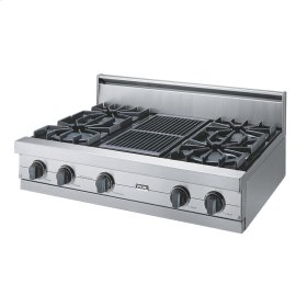 "Stainless Steel 36"" Open Burner Rangetop - VGRT (36"" wide, four burners 12"" wide char-grill)"