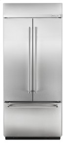 """20.8 Cu. Ft. 36"""" Width Built-In Stainless French Door Refrigerator - Stainless Steel Product Image"""