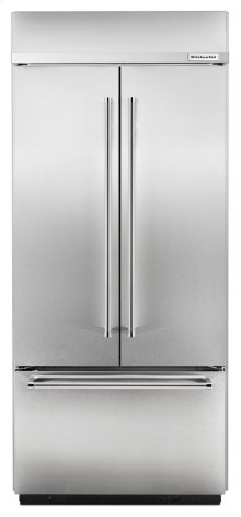 "20.8 Cu. Ft. 36"" Width Built-In Stainless French Door Refrigerator - Stainless Steel"