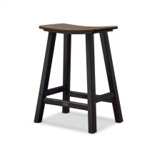 "Black & Mahogany Contempo 24"" Saddle Bar Stool"