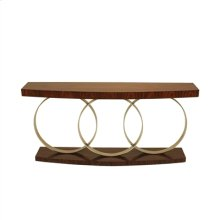 Vintage Silver Iron Console Table, Natural Finished Rosewood Veneer Top and Base