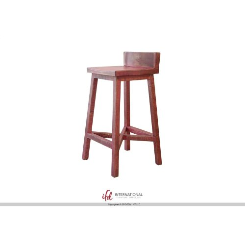 "30"" Stool - with wooden seat & base- Pink finish"