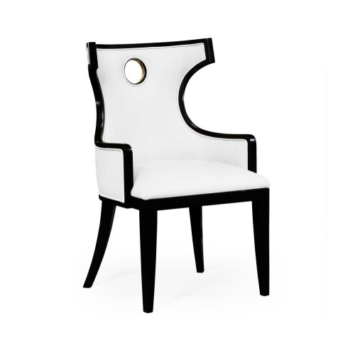 Greek Revival Biedermeier Black Armchair - COM