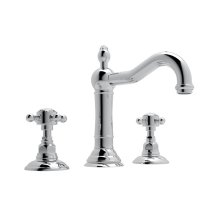 Polished Chrome Acqui Column Spout Widespread Lavatory Faucet with Crystal Cross Handle