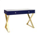 Navy Lacquer Desk With Gold Leafed X Base Product Image