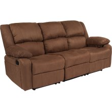 Harmony Series Chocolate Brown Microfiber Sofa with Two Built-In Recliners
